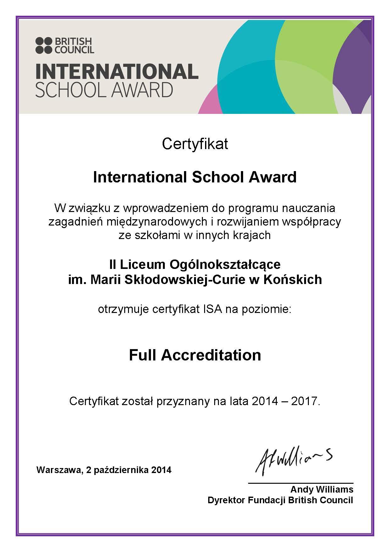 Certificate - II Liceum Ogólnokształcące